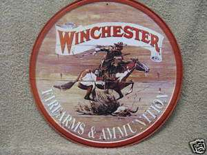 WINCHESTER Round Tin Metal Sign Hunting decor