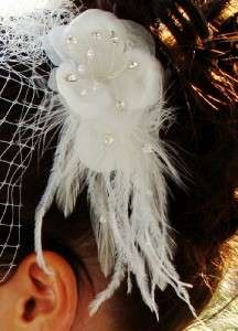 Wedding bridal Feather crystal fascinator w/birdcage french veil IVORY
