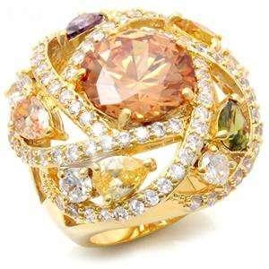 Jewelry   Round Cut Champagne CZ Cocktail Ring SZ 5 Jewelry