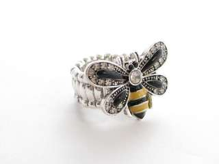Bumble Bee Bug Insect Crystal Stretch Ring Jewelry