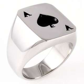 Biker Ace of Spades 316L Stainless Steel Poker Luck Ring size 8