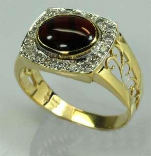 64ctw Garnet & Diamond Solid 10KY Gold Mens Ring Size 10.25