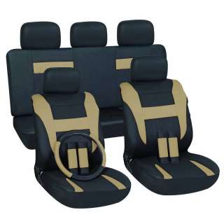 Tan/ Black 16 piece Car Seat Cover Set