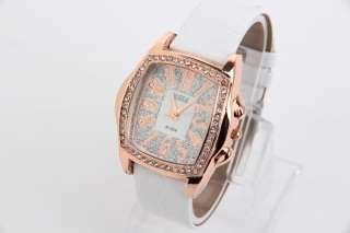 Design Women Quartz Watch Crystal Diamond Wristwatch Jewelry White
