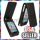 Black Flip Leather Pouch Case Cover for iPhone 4 4S 4G 4th GEN