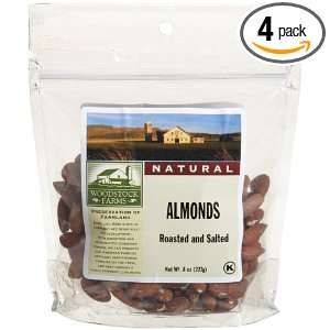 Woodstock Farms Almonds, Whole, Roasted and Salted, 8 Ounce Bags (Pack