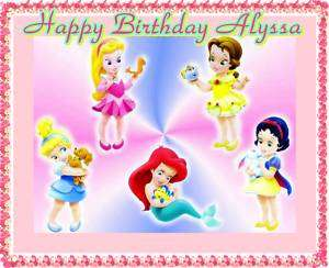 Disney Princess Baby Frosting Sheet Edible Cake Topper |
