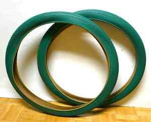 Beach Cruiser BICYCLE Bike TIRES 26 X 2.125 a Pair Green ( 2 )