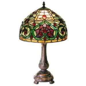Victorian Petite Ivory and Green Tiffany Style Table Lamp