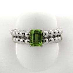 Silver Emerald cut Peridot Beaded Stretch Ring