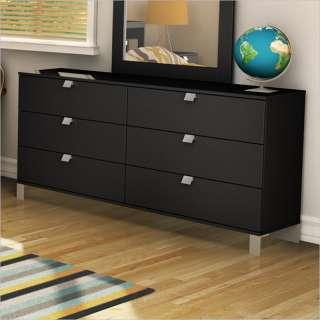Drawer Double Solid Black Finish Dresser 066311045802