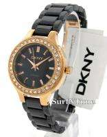 New DKNY Ladies Black Ceramic Bracelet Rose Gold Swarovski Crystal