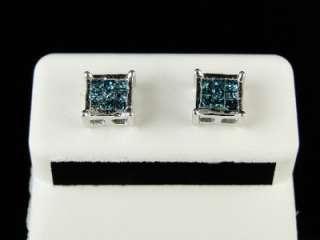 GOLD BLUE PRINCESS CUT DIAMOND 7 MM PRONG STUDS EARRINGS 1/2 CT