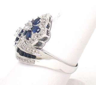 ELEGANT 14K W GOLD, DIAMONDS & SAPPHIRE FLORAL TOP RING