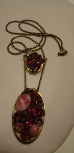 STUNNING VTG JULIANA PINK RHINESTONE ART GLASS NECKLACE