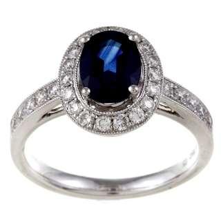 18k White Gold Blue Sapphire and 1/2ct TDW Diamond Ring (G H, VS1 VS2