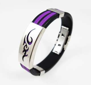 Mens Tribal Tattoo Wristband Stainless Steel Cuff Bracelet 5 Colours