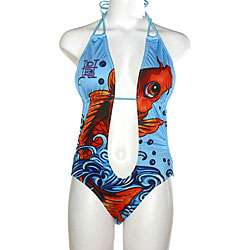 Ed Hardy Womens Blue Koi Fish Monokini