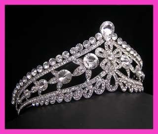 Wedding/Bridal crystal veil tiara crown headband CR212