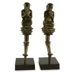 Bronze sculptures, Respect for Buddha (pair)