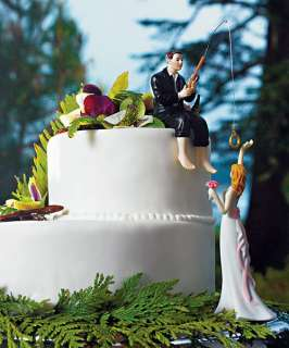 Hooked on Love Bride & Groom Cake Topper w/ Customizable Hair Color