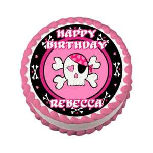 PINK SKULL PIRATE Edible Cake Image Party Decoration