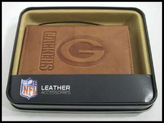 Green Bay Packers Embossed Licensed NFL Leather Trifold Wallet New in