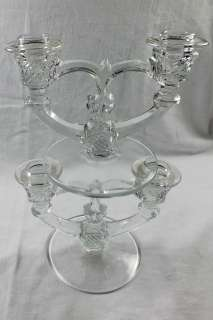 Pair Vintage Elegant Crystal Glass Candle Sticks Candelabra