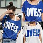 Korean 2 PCS Off Shoulder Womens Top T shirt+Vest White Blue