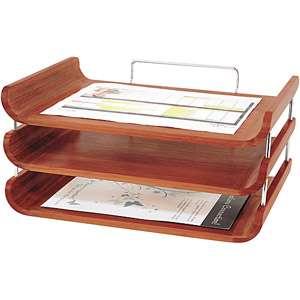 Safco 3 Tier Bamboo Desk Tray, Cherry Office