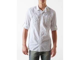 calvin klein garment dyed roll up casual shirt mens