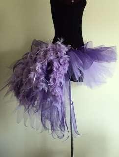Burlesque Tutu Skirt Purple/Lilac Bustle Feathers14/18