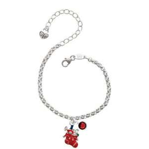 Red Christmas Stocking Silver Plated Brass Charm Bracelet
