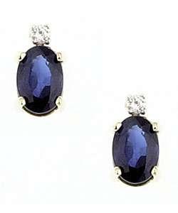 14k Yellow Gold Oval Sapphire Diamond Earrings
