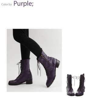 Womens sheepskin Lace Up zipper high Ankle Combat boots