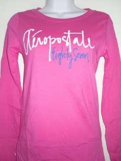 NWT Juniors Womens Aeropostale Pink Script Logo L/s Shirt Medium Large