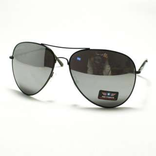 FORCE Aviator Sunglasses Classic Style Metal Frame BLACK Mirror Lenses