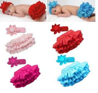 Girl Baby Clothing Ruffle Pants Nappy Skirt+Headband 4 Colors BB02