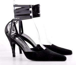 YVES SAINT LAURENT Black Satin Ribbon Strap Pumps 11