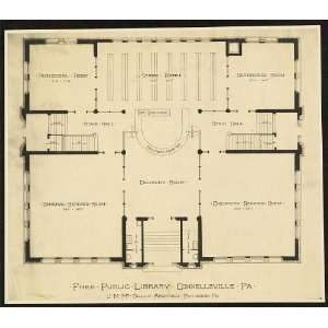 Free Public Library,floor plan,Connellsville,PA,1900
