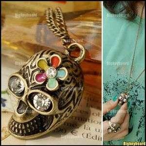 Retro Vintage Stly Skull Skeleton Flower Rhinestone Pendant Necklace