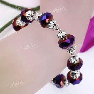 Purple Faceted Crystal Flower Bead Bracelet Adjustable
