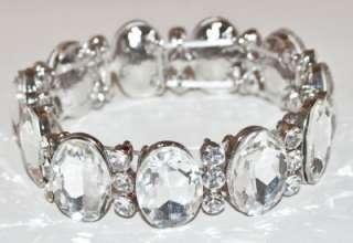 CHUNKY CLEAR WHITE GLASS RHINESTONE WEDDING BRIDAL SILVER STRETCH