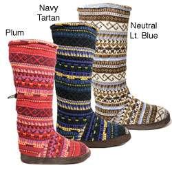 Muk Luks Womens Fairisle Knit Toggle Slipper Boots