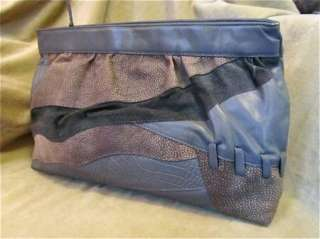 Womens LARGE Leather Clutch Vintage Bag Grey Suede Handbag Gray