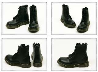 Womens Black Military Combat Zipper Boots Shoe US 6~8.5