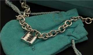 Beautiful Vtg Tiffany & Co Sterling Silver Padlock Lock Charm Necklace