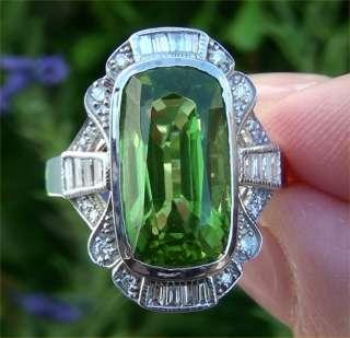 90 Carat Natural Peridot Diamond Vintage Ring 14K White Gold