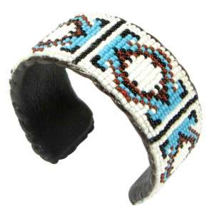 WHITE BROWN GODS EYE BEADED CUFF BRACELET LEATHER 37/