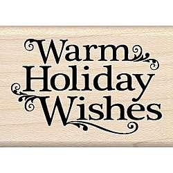 Inkadinkado Warm Holiday Wishes Wood mounted Rubber Stamp